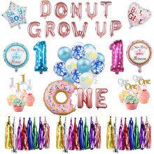 Foil Latex Air Balloon Baby Shower Sweet Donut One Boy/Girl 1st Birthday Party Decoration Cake Topper Grow Up Balloons Set