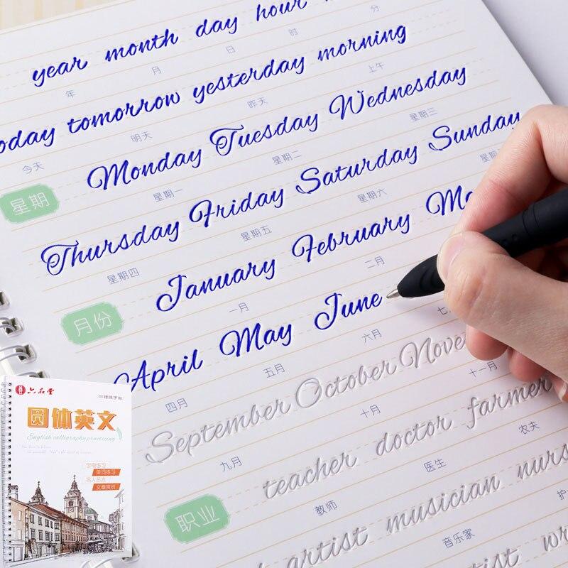 Rund Englisch Alphabet Wort Buchstaben Runde Hand Schreiben Auto Trocken Wiederholen Praxis Copybook Liu Pin Tang 3D Nut Übung Buch