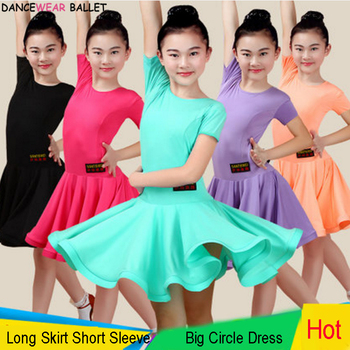 Junior Girls Latin Dance Dresses Big Ballroom Tango Skirt Kids Salsa Performance Competition Costumes Practice Wear - discount item  5% OFF Stage & Dance Wear
