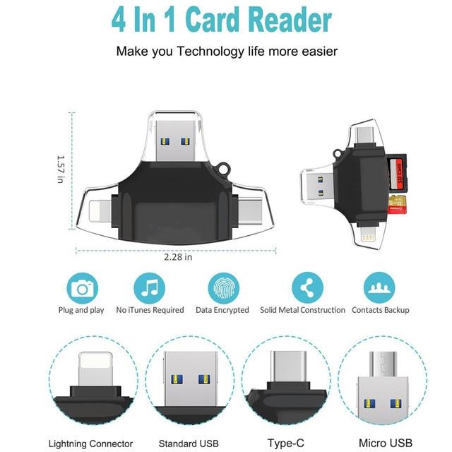 סוג C USB C מיקרו SD כרטיס קורא OTG MMC זיכרון פלאש קורא כרטיסים עבור iPhone iPad MacBook אנדרואיד מיקרו USB קורא