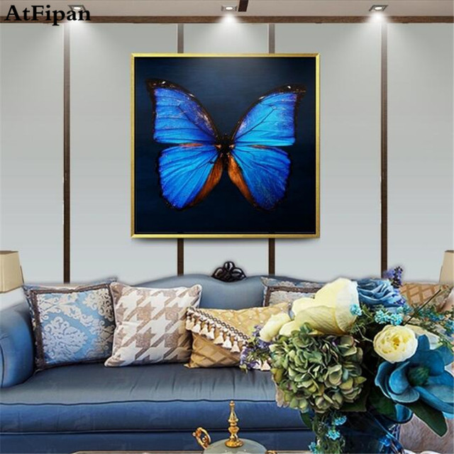 Atfipan Unframed Canvas Painting For Bedroom Art Blue Erfly Oil Paintings Wall Pictures Living