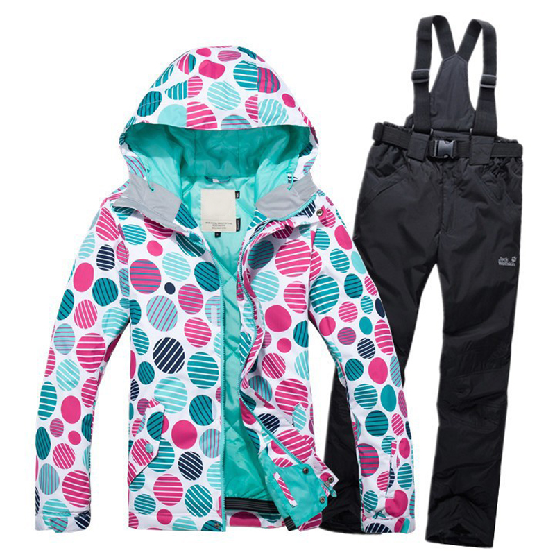 Prix pour NOUVELLE Hiver Snowboard vente Chaude dame snowboard ski veste vêtements pantalon coupe-vent imperméable Respirant ski Polyester