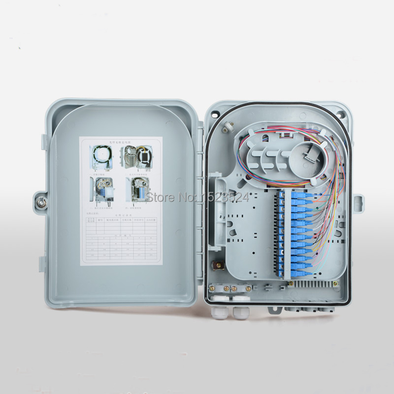 Boîte de terminaison optique de boîte de Distribution de Fiber optique de boîte de FTTH 24 noyaux avec des adaptateurs et des tresses de SC