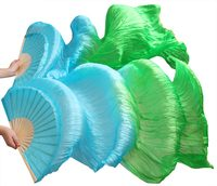 100% silk handmade wholesale high quality Chinese silk veils dance fans 1 Pair of belly dancing fans Turquoise + Green