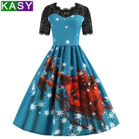 Autumn Winter Women Christmas Dresses Short Sleeve Lace Backless Santa Claus Printed Patchwork A Line Party Swing Dress