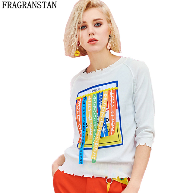 2018 Women Spring Summer New Fashion Sweater Female Half Sleeve Letter Ribbon Printed Knitting Tops Casual Loose Pullovers LY418