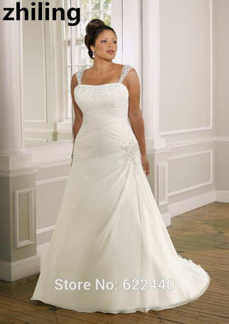 Chiffon With Applique Beaded Plus Size Wedding Dresses Removable Straps Gowns Bride Dress A