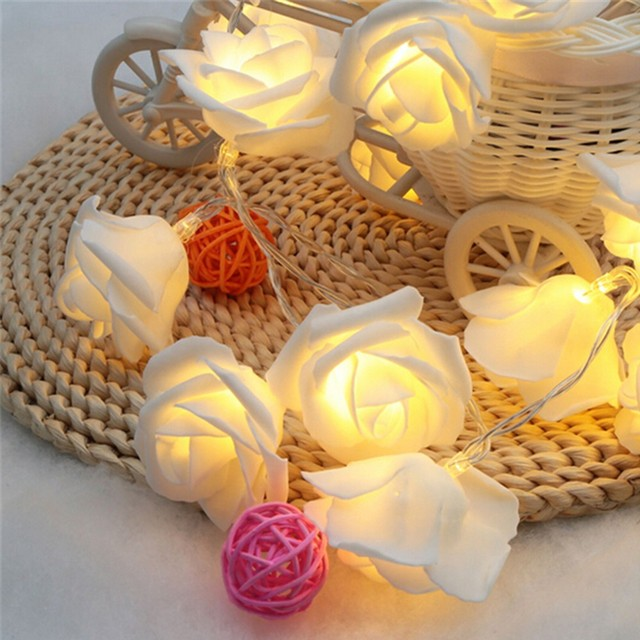led christmas lights at the window for street garland new year christmas decor 20pcs rose 22