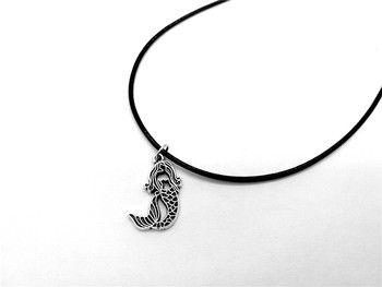 Little Mermaid Necklace Sea-maid Fish Tail Silhouettes Rope Leather Necklaces for Kids Ariel Beach Ocean Fairy Tale jewelry