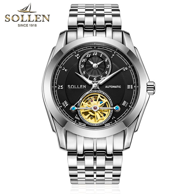 SOLLEN relojes para hombre Top marca de lujo Tourbillon maquinaria  automática reloj hombres esqueleto reloj de e0909464fe26