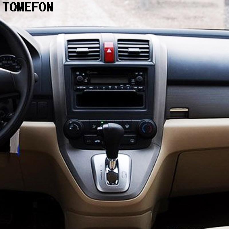 TOMEFON For Honda CRV 2007 2008 2009 2010 ABS Carbon Fiber Wood Paint Inner Front Middle AC Vent Gear Shift Frame 3pcs/set