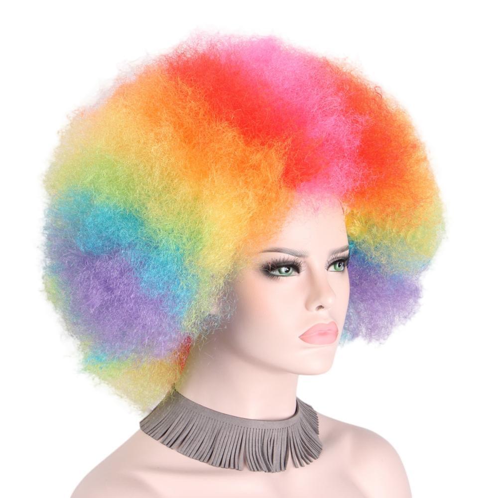 Afro Clown Wig Regnbåge Coloful Big Top Curly Party Paryk För - Syntetiskt hår - Foto 2