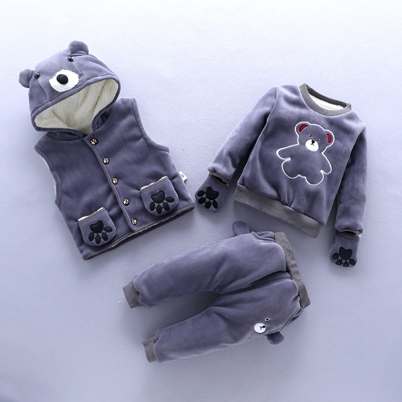 BibiCola baby girls winter clothing set newborn girls vest+coat+pants 3pcs clothes suit sport sets infant girl tracksuit bibicola autumn baby boys clothing set gentleman outfits infant tracksuit 3pcs plaid t shirt pants vest sets bebe sport suit