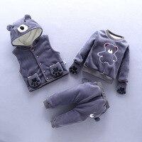 BibiCola baby girls winter clothing set newborn girls vest+coat+pants 3pcs clothes suit sport sets infant girl tracksuit