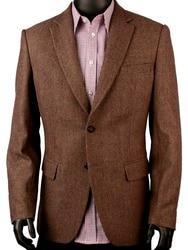 Donkerbruin Patroon Heren Tweed Jas Mannen Tailor Made Causale Blazer, slim Fit Tweed Jasje Veste Homme Kostuum Luxe
