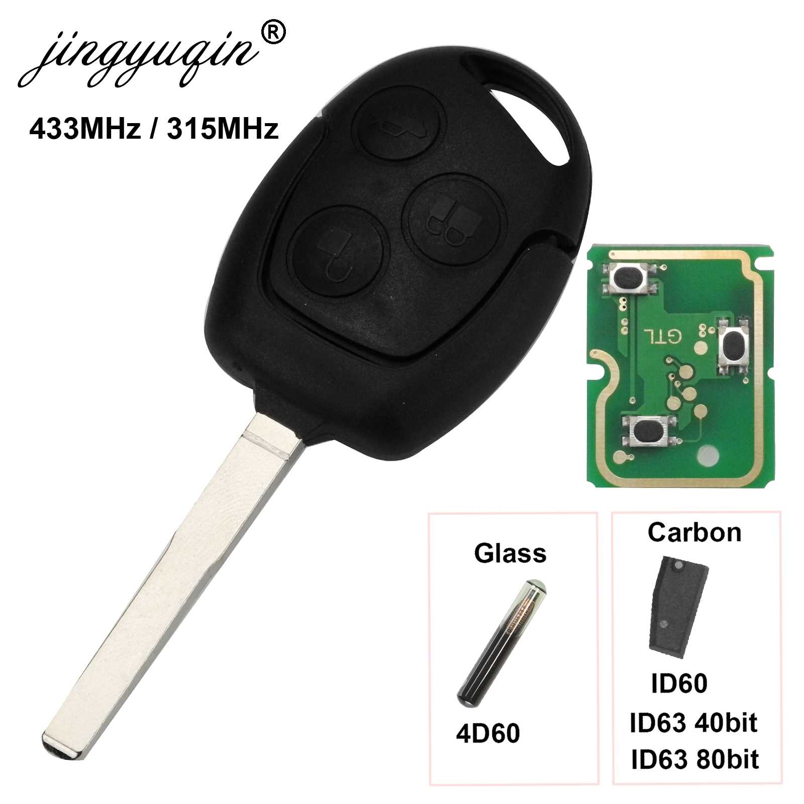 Jingyuqin 3 Knoppen Afstandsbediening Autosleutel 315/433Mhz Voor Ford Focus Fiesta Fusion C-Max Mondeo Galaxy c-Max S-Max ID60 4D63 Chip