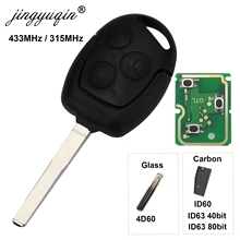 Jingyuqin 3 Knoppen Afstandsbediening Autosleutel 315/433Mhz Voor Ford Focus Fiesta Fusion C Max Mondeo Galaxy C Max S Max ID60 4D63 Chip