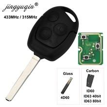 Jingyuqin-llave de coche remota con 3 botones, 315/433Mhz, para Ford Focus Fiesta Fusion c-max Mondeo Galaxy c-max s-max ID60 4D63 Chip