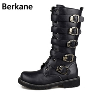 Армейские ботинки; мужские военные кожаные ботинки с металлической пряжкой; кожаные мотоциклетные сапоги в стиле «панк»; мужская обувь; ...