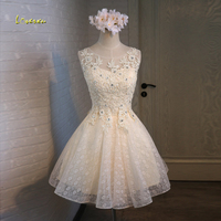 Loverxu Gorgeous Lace Appliques Short Homecoming Dresses 2107 Scoop Neck Party Gown Knee Length A Line