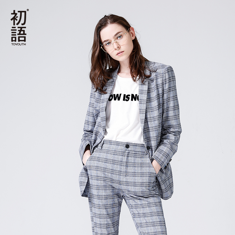 Toyouth Women Blazers 2018 Spring Fashion Office Lady Jacket Plaid Slim Formal Suits Turndown Collar Single Button Female Blazer