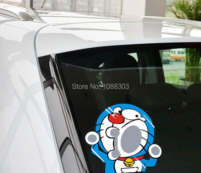 19x18cm m funny car sticker funny doraemon hit the glass cute 19x18cm m funny car sticker funny doraemon hit the glass cute cartoon vinyl decal decorate auto voltagebd