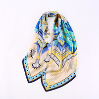 HA115 New Fashion Spring 2019 Lady 110cm Crepe Satin Shawl Beach Large Square Towel 100% Silk Scarf