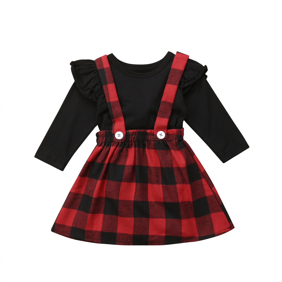 0-4Y Toddler Kids Baby <font><b>Girl</b></font> <font><b>Christmas</b></font> Gift Fly <font><b>Long</b></font> <font><b>Sleeve</b></font> Black T-shirt Tops+<font><b>Red</b></font> Plaid Strap <font><b>Dress</b></font> 2PCS <font><b>Girls</b></font> Clothing Set image