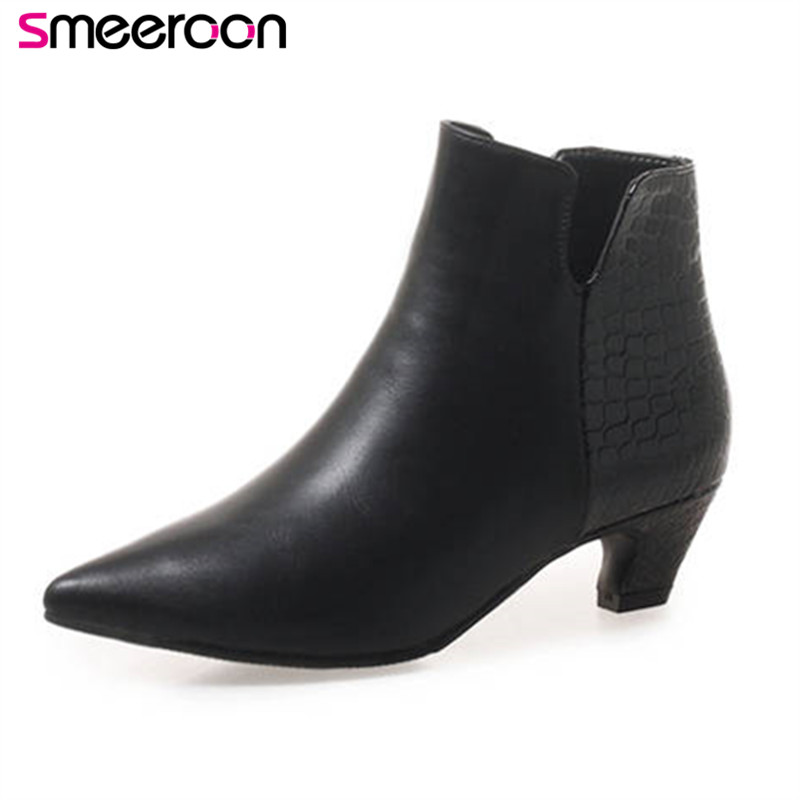 Smeeroon 2018 new arrival ankle boots for women pointed toe autumn winter boots zipper fashion dress shoes woman big size 33-46