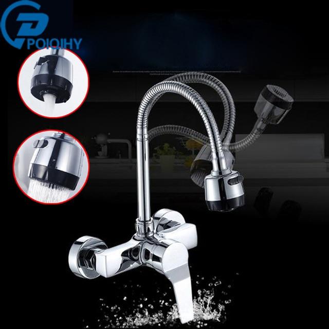 POIQIHY Dual Stil Outlet Wasser Spray Küche Badezimmer Basin Wasserhahn Wand  Montiert Chrom Flexible Schlauch Mischbatterien