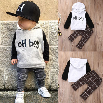 2pcs Toddler Kids Baby Boy Clothes Set OH Boy Hoodies Tops Casual Pants Plaid Clothing Boys Outfits 1