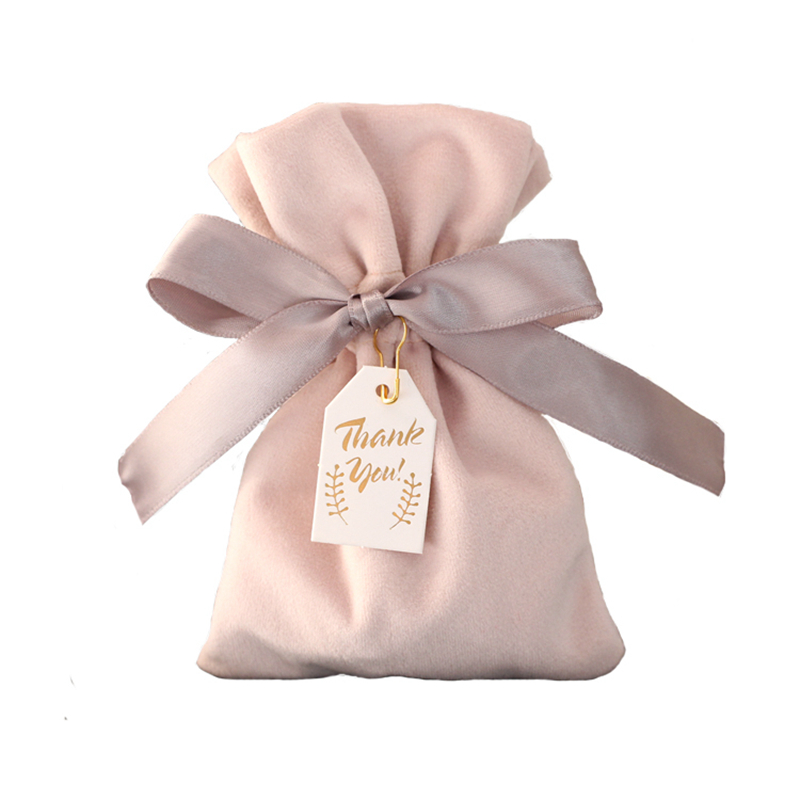 Small Wedding Gift Bags: 10pcs Pink/red Velvet Bags With Ribbons Small Jewelry