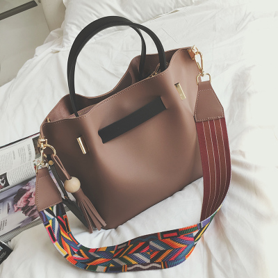 Women 39 s single shoulder bag colorful straps and mickey pendant women handbag female crossbody bag in Shoulder Bags from Luggage amp Bags