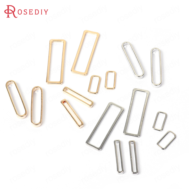 10PCS 1.2/2/2.5/3CM Gold Color Plated Brass Rounded Rectangle Connect Charms Diy Jewelry Findings Accessories stylish golden hollow rounded rectangle hasp bracelet for women