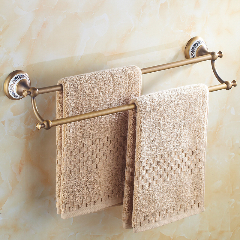 Double Towel Bar Antique Copper Bathroom Towel Rack Bronze Ceramic Base Bathroom Shelf Wall Mount Hardware Accessories Ez10 krazing pot sheep suede summer elastic band thin med heels beading pointed toe slip on women sexy office lady pumps shoes l96