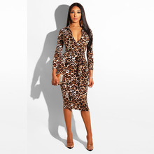 Women Dress Women Sexy Long Sleeve Leopard Print Bodycon Tight buttocks  fashion V-Neck Dress 8e2cccd86