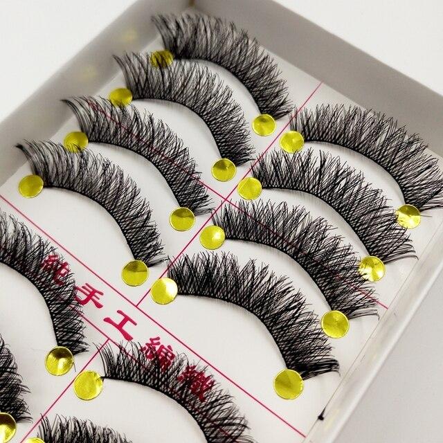 YOKPN Makeup False Eyelashes Natural  Thick False Eyelashes Cross Messy Comfortable Eyelashes False eyelashes 1 box 10 pairs 2