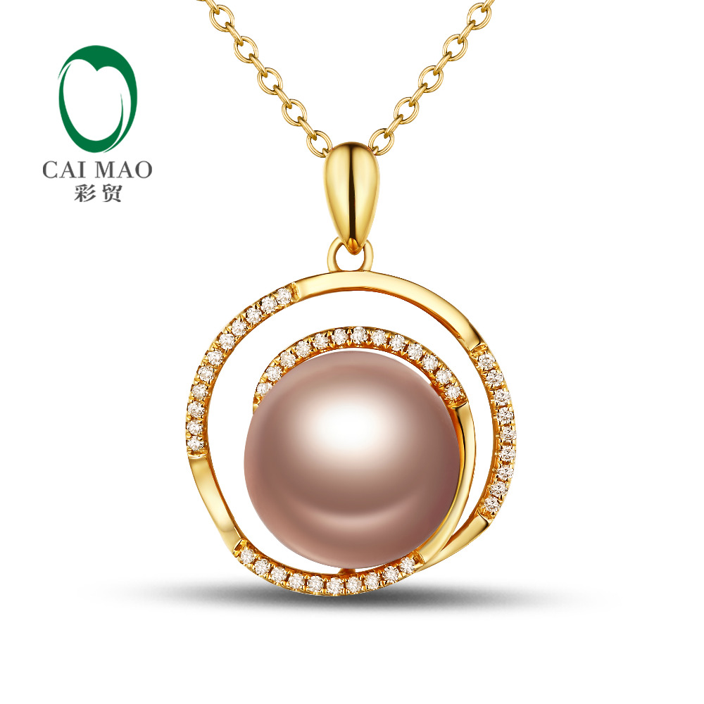 18k Yellow Gold precious 11-12mm Round Freshwater Pearl 0.18ct Diamond Pendant manufacturer Free Shipping