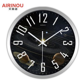 Airinou the Moon Starry Sky and Mars 3 Styles ,Glass&Metal Silent Movement Wall Clock,Children Room Museum Theme Park  Decorate 14