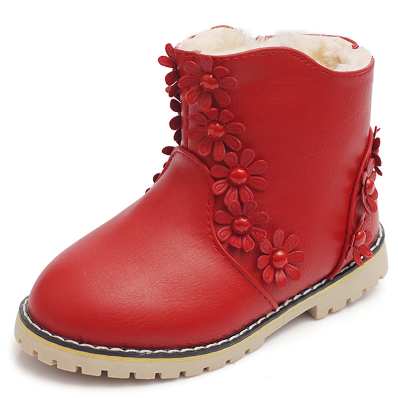 Sweet Girls Snow Boots Fashion Winter Shoes Warm High Quality Australia Fur Lined Waterproof Kids Ankle