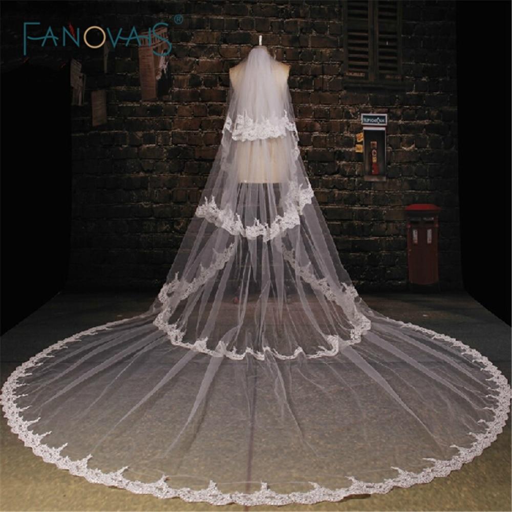 High quality Appliqued One-Layers Bridal Veils 3.5M long White Wedding Veil Velos De Novia 2015 WV-1005