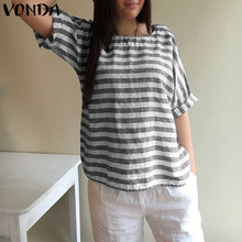 VONDA Women Blouses 2018 Maternity Clothes Summer Cotton Striped Shirts Batwing Sleeve Casual Loose Tees Plus Size Prenant Tops