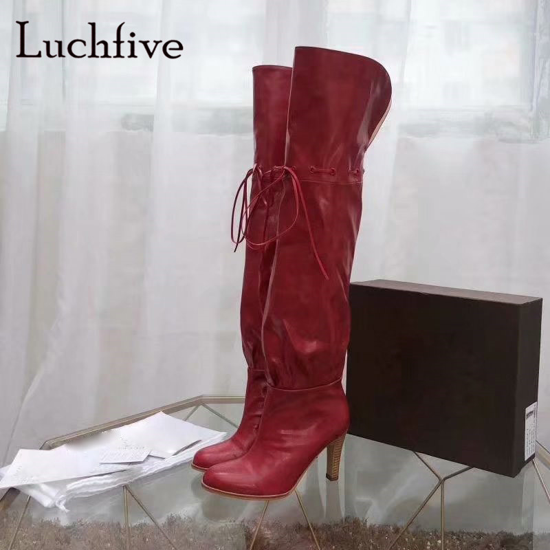 Fashion thin high heels shoes woman classic lace up round toe over the knee boots black red slip on sexy winter boots womenFashion thin high heels shoes woman classic lace up round toe over the knee boots black red slip on sexy winter boots women