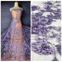 La Belleza 1 yard Pureple /Wine and other 3 colours handmadde 3D flowers pearls wedding/evening dress lace fabric 51'' width