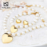 2015 KALEN Wholesale Fashion 18K Gold Plated Love Heart Imitation Pearl Bead Necklace And Bracelets And