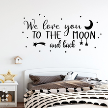 Cartoon love you to the moon Sentence Wall Sticker Mural For Kids Room Art Poster Bedroom Decal vinilo pared