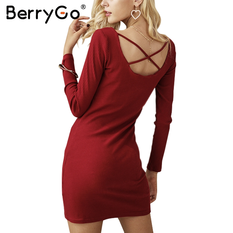 BerryGo Lace up wine red women knitted dresses Long sleeve sexy elastic elegant sweater dress Casual bodycon dress vestidos 2017