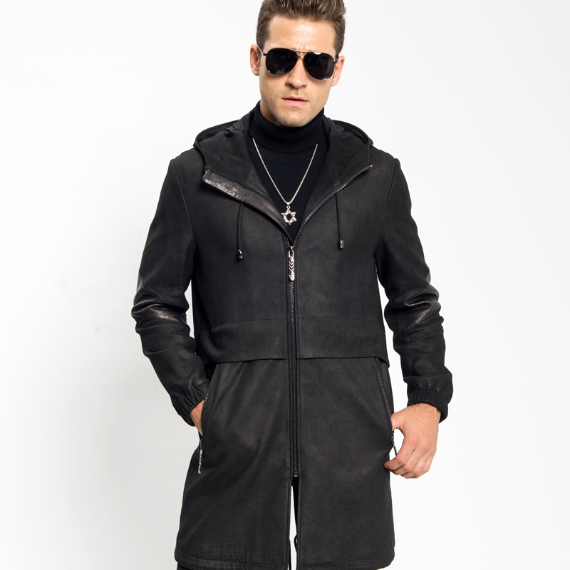 c8a03c05a8ec Luxury Leather Jacket Smart Casual Men's Hooded Leather Coat 100% Sheepskin  Military Style Black Leather Slim Long Parka Travel -in Genuine Leather  Coats ...