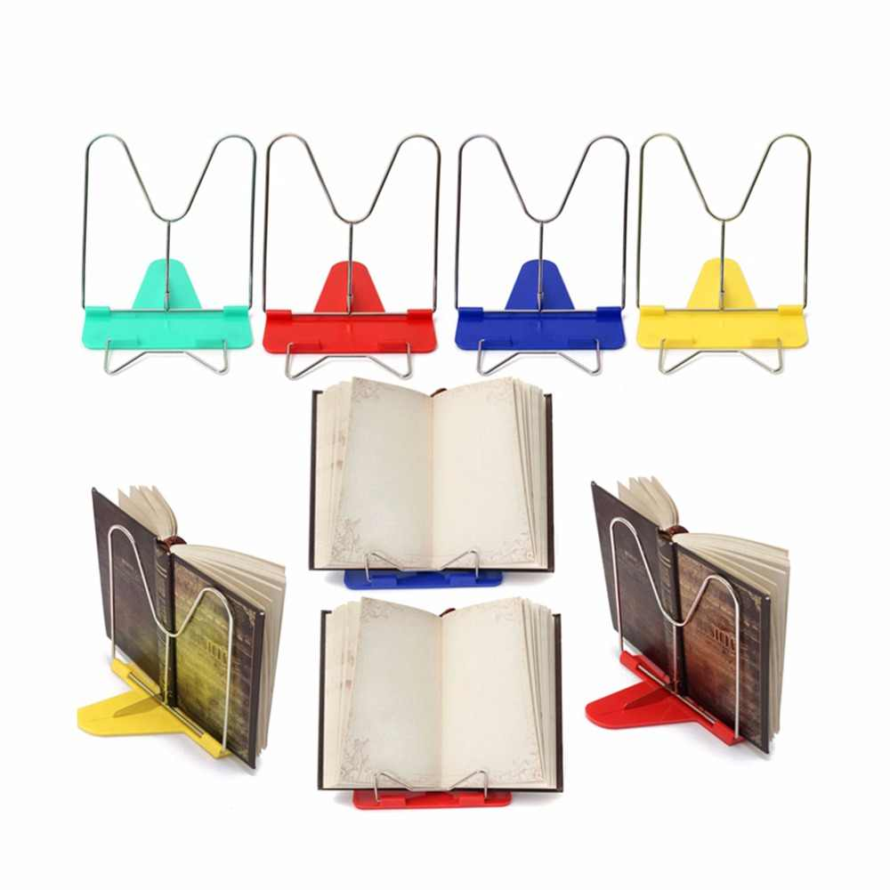 Soporte de libro de lectura plegable ajustable soporte de documentos escritorio Oficina suministro de Acero Inoxidable Base de plástico lectura Boo