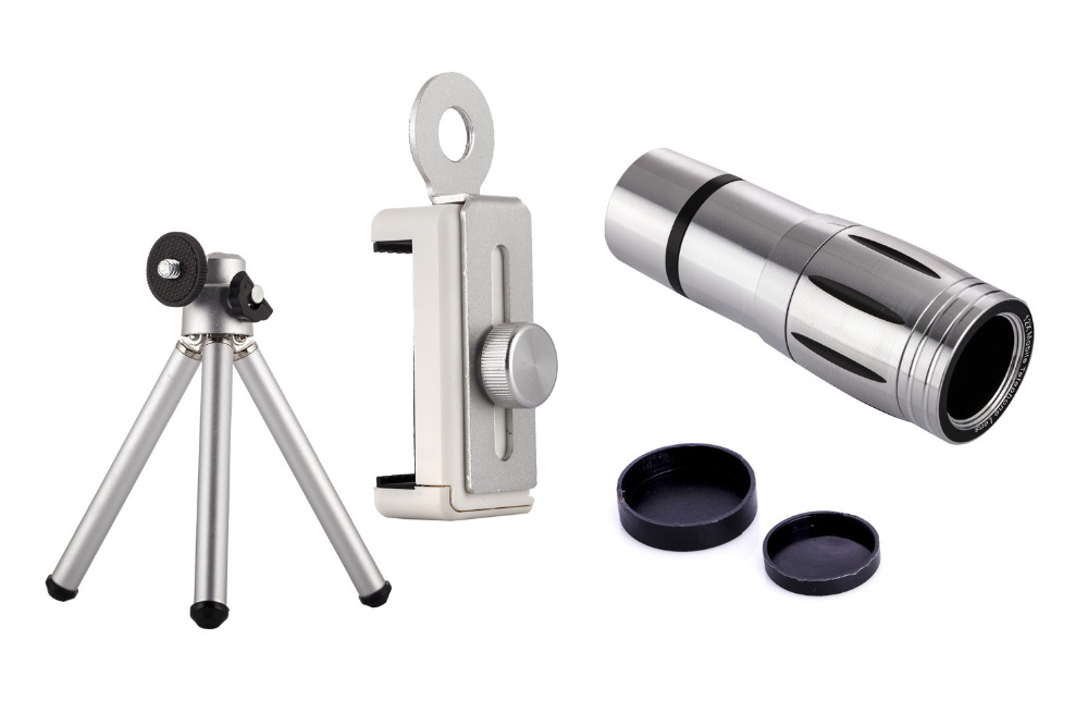 Universal 12X Zoom Mobile Phone Telescope Lens 4in1 lens Telephoto External Smartphone Camera Lens for iPhone Sumsung HTC Huawei 8